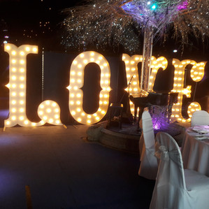 KMS Hire - Essex 7ft Tall Circus LOVE Letter Light Wedding Hire