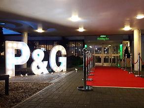Holiday Inn Basildon P&G Charity Awards giant letter lights