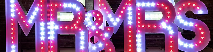 KMS Hire's 5ft tall Colour Changing MR & MRS Light Up Letters available for hire