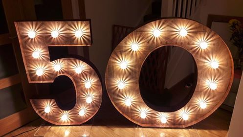 rustic 50 number lights for hire