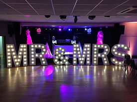 Giant MR&MRS letter lights available for hire for weddings in Essex, Kent, Suffolk, London