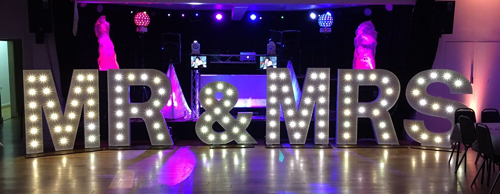 MR & MRS light up letters for hire