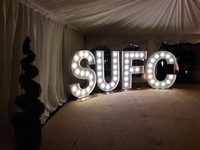 Southend United Football Club end of season gala dinner giant light up letters hire