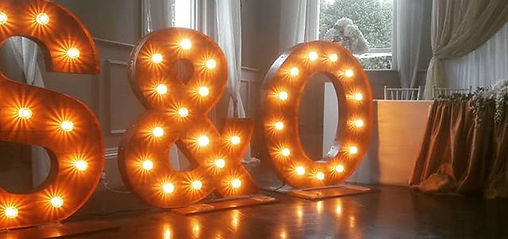 4ft tall rustic inital letter lights available for weddng hire in Essex