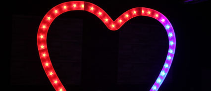 KMS Hire's Giant 8ft Tall Colour Changing Heart Arch