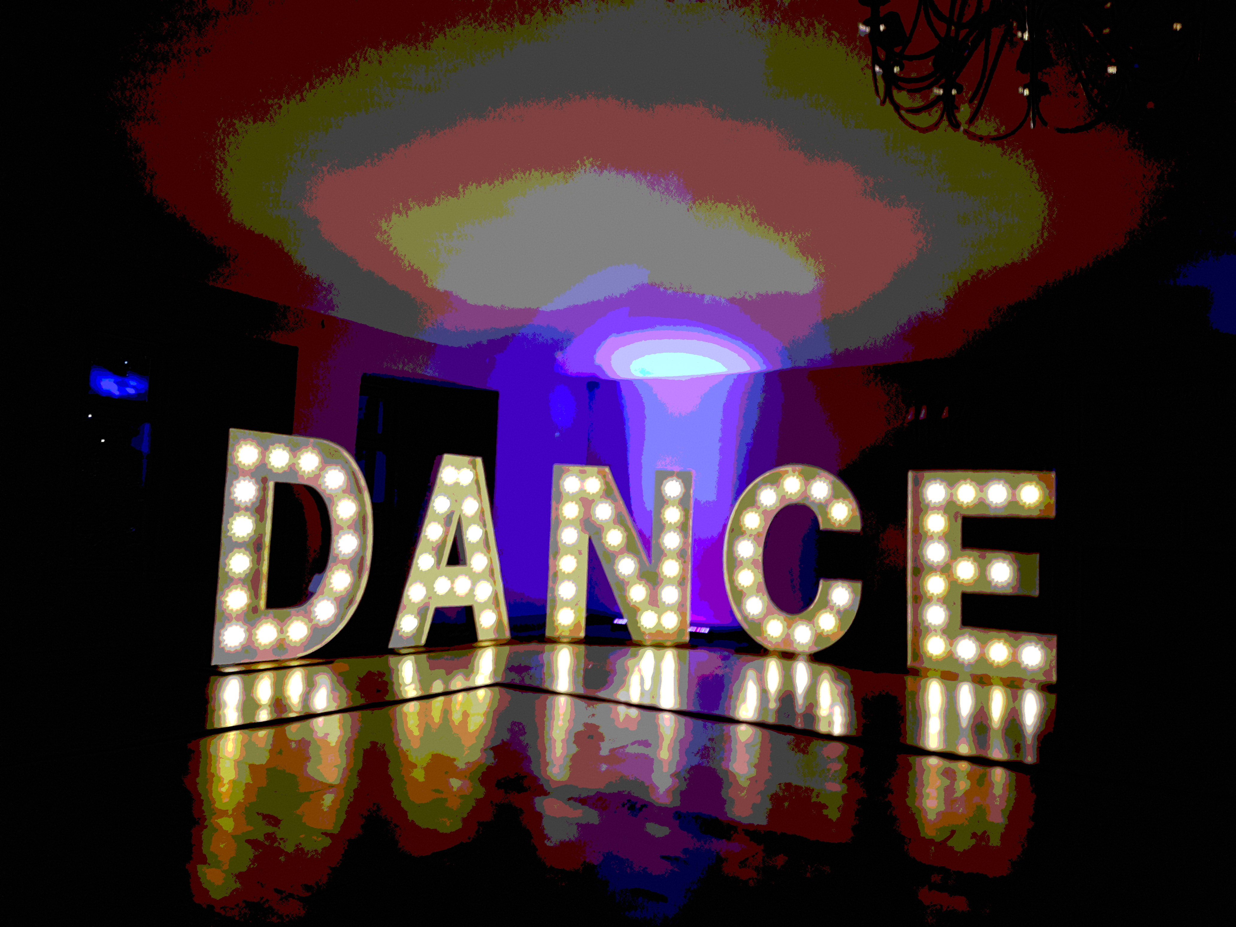 KMS Hire illuminated DANCE letters