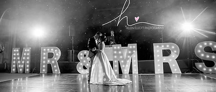 KMS Hire giant white MR&MRS light up letters at the Hangar Kesgrave Hall wedding venue