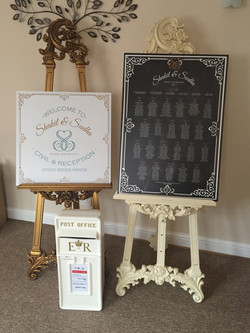 Gold and White Easels