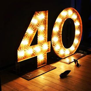 4ft tall rustic number lights available for party hire in Essex