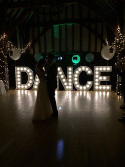 KMS Hire's DANCE letter lights