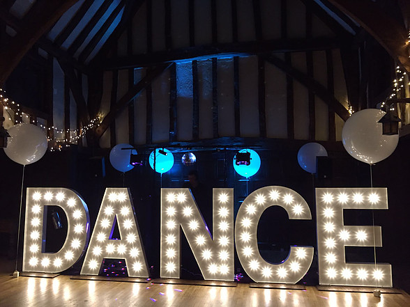 KMS Hire's giant DANCE letter lights