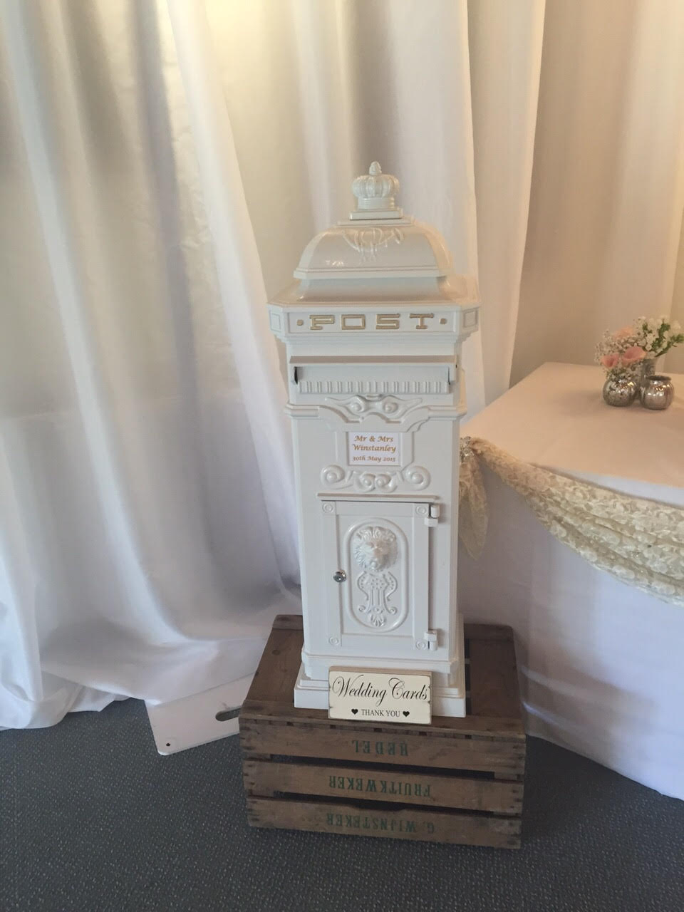 KMS Hire white vintage style postbox