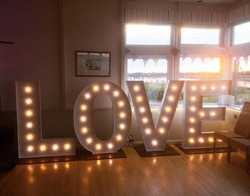 KMS Hire's giant LOVE letter lights
