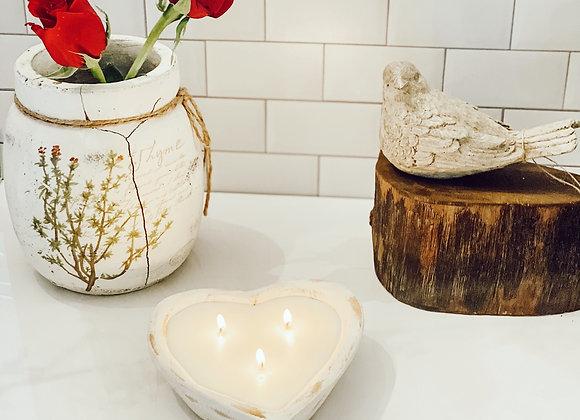 """Grateful Heart"" Rustic Heart shaped Dough Bowl-WHITE"
