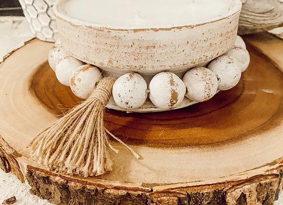 Beadzie Bowl Candles-Whitewashed