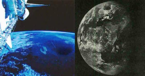 À esquerda, foto de satélite ESSA-7 de 1968 mostrando uma abertura no Pólo Norte, à direita foto da nave Apolo 11 de 1969 também mostra a mesma abertura.