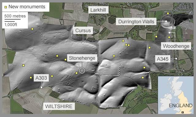 Stonehenge não estava sozinho. Pelo contrário, fazia parte de uma rede de inúmeras estruturas arqueológicas. (Ludwing Boltzam Institute, University of Birmingham / Microsoft)