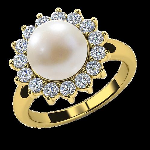 Lady Pearl Diamond Ring - 001
