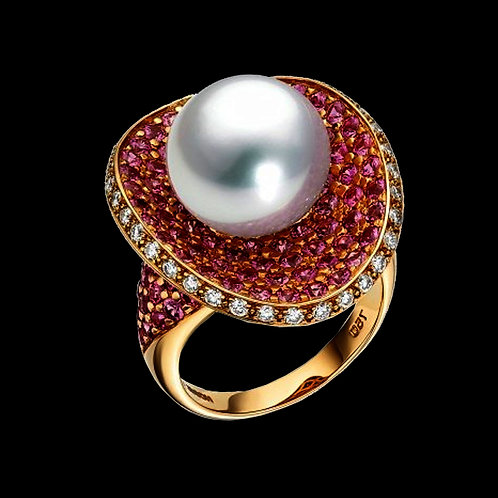 Pearl Ruby Diamond Ring - 012