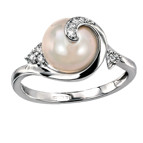 Lady Pearl Diamond Ring - 008