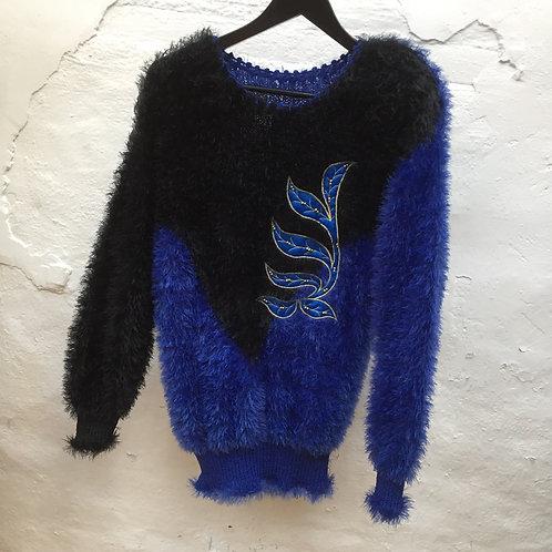 Pull vintage bleu