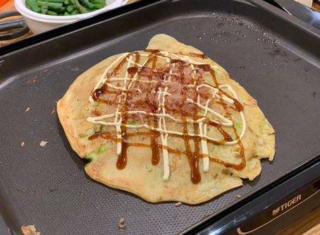 【料理日記】お好み焼きonホットプレート