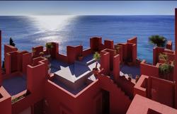 Colorful geometric building Europe