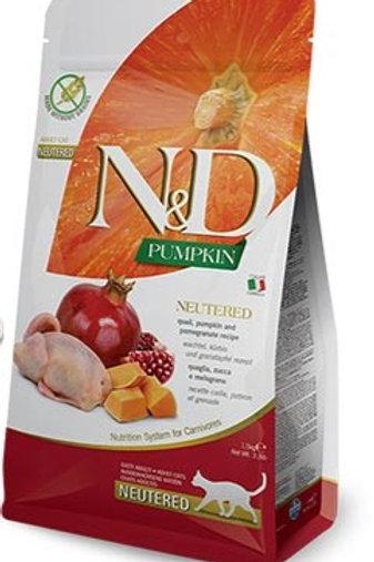 N&D PUMPKIN – מזון לחתול מסורס/מעוקר – שלו, דלעת ורימון