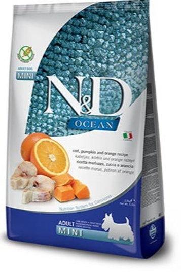 "N&D OCEAN – מזון לכלב בוגר – דג קוד, דלעת ותפוז 7 ק""ג גזע קטן"