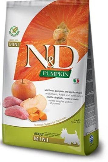 """N&D PUMPKIN – מזון לכלב בוגר – חזיר בר, דלעת ותפוח 2.5 ק""""ג גזע קטן"""