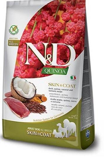 "N&D Quinoa קציונאלי עור ופרווה ברווז לכלב בוגר 7 ק""ג"