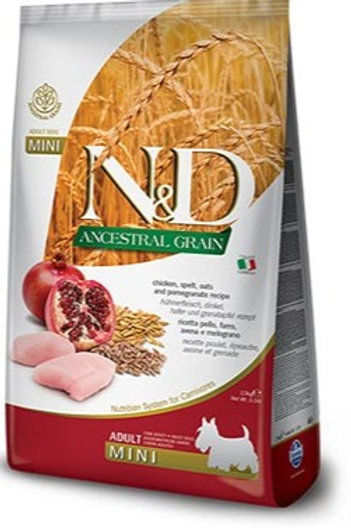 """N&D ANCESTRAL GRAIN – מזון לכלב בוגר – עוף, רימון ודגנים 12+3 ק""""ג גזע בוגר"""