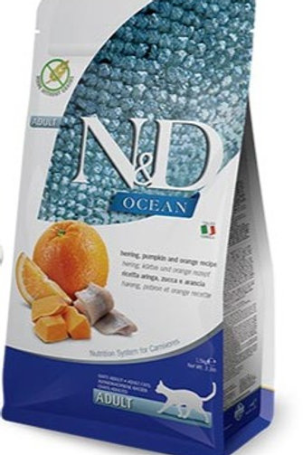 "N&D OCEAN – מזון לחתול בוגר – דג הרינג, דלעת ותפוז 1.5 ק""ג"
