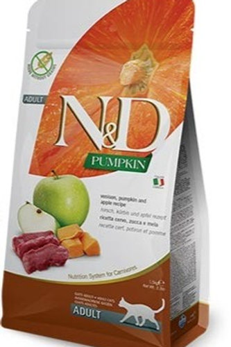 "N&D PUMPKIN – מזון לחתול בוגר – צבי, דלעת ותפוח 5 ק""ג"