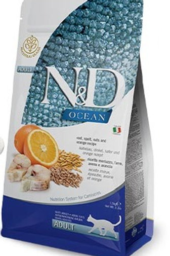 "N&D OCEAN – מזון לחתול בוגר – דג קוד, דגנים ותפוז 5 ק""ג"