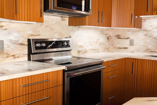 Custom work, kitchen, brown cabinets and drawers by Wood Products Unlimited
