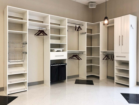 Custom work, white closet organizer, side view- Wood Products Unlimited space-saver design