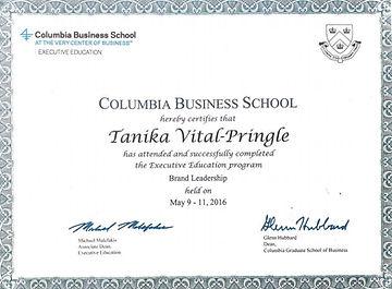 Colombia University Exec Ed Certificate.