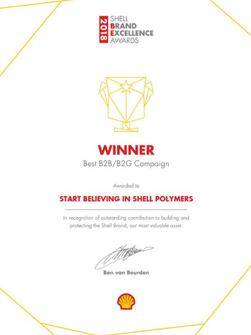 """Awarded """"Best Business-to-Business Brand Campaign"""" at Shell"""