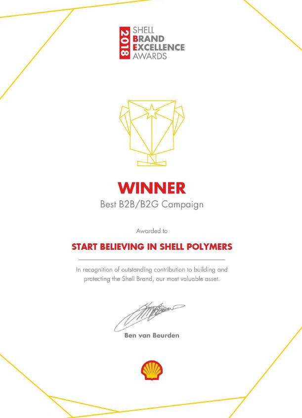 "Awarded ""Best Business-to-Business Brand Campaign"" at Shell"