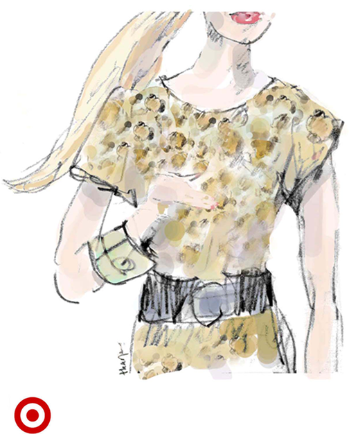 Fall Fashion sketch for Target. leoprard print sweater dress, statement belt and bracelet.