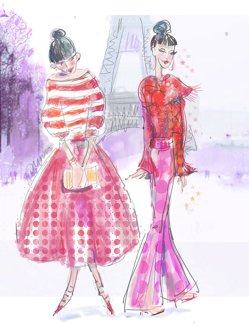 Two Parisian women in Fendi Inspired Pink and Red for Paris Fashion Week