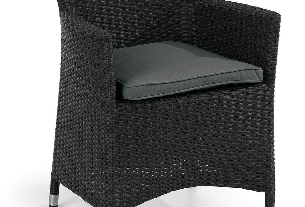 Black Weave Arm Chair with Cushion