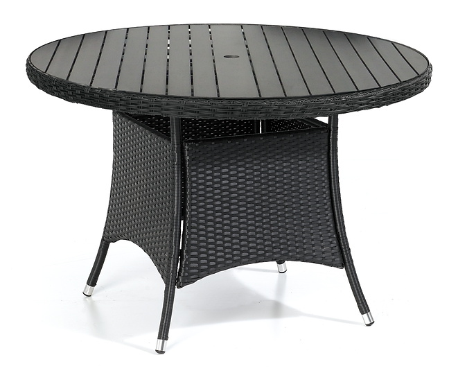 Black Flat Weave 1m Round Table