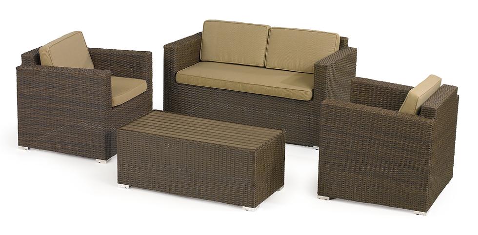 Brown Weave Sofa Set