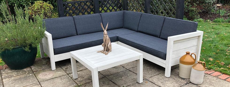 Santorini Wood Corner Sofa Set