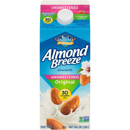 Almond Breeze Unsweetened Original Almondmilk Non Dairy Milk Alternative 1/2 Gal