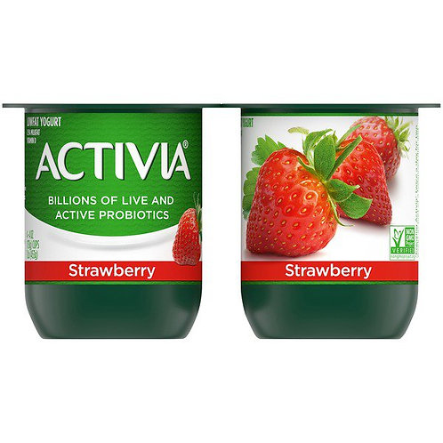 Activia Lowfat Probiotic Strawberry Yogurt 4pk