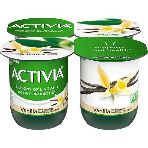 Activia Lowfat Probiotic Vanilla Yogurt 4pk