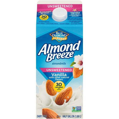 Almond Breeze Unsweetened Vanilla Almond milk 1/2 Gal